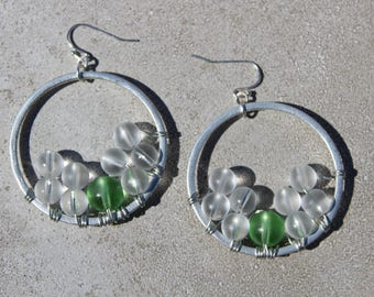 Sophisticated Wire Wrapped Hoop Earrings with Glass Beads