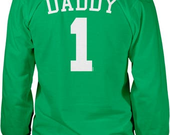 Back Print, Daddy 1, Jersey Number Design, Happy Father's Day Men's Long Sleeve Shirt, NOFO_01282