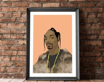Snoop Dogg Poster, Posters and Prints, Hip Hop Portrait, Snoop Dogg, Poster with Rapper, Hip Hop Poster, Wall Decor, Hip Hop Culture