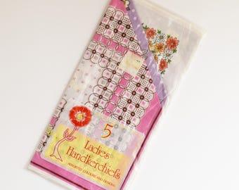 Vintage Ladies or Girls Handkerchiefs - New Old stock - Set of 5 -70's Era