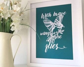 Motivational art, bird papercut, motivational papercut, bird wall art, papercut, motivational wall art, bird decor, framed papercut
