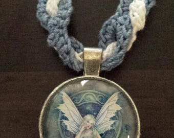 Crocheted  necklace with blue fairly angel pendant inventory clearance