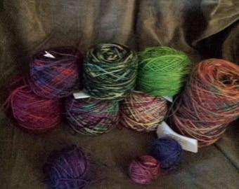 CLEARANCE 8 skeins hand painted hand dyed super wash merino wool yarn sock   destash