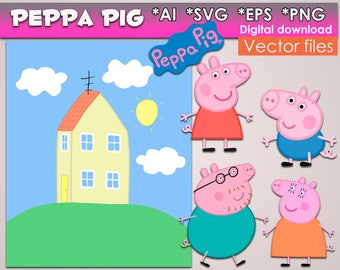 Peppa Pig SVG PNG, EPS Ai Vector files Digital Peppa Pig clipart Instant Download Home Pig svg Vector Cut Files Cricut Design party