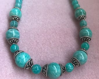 Russian Amazonite and Sterling Silver Necklace