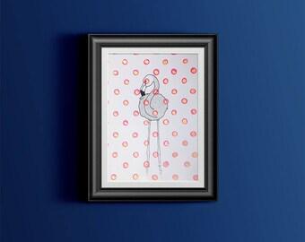 Affiche illustration Flamant rose à pois - rose et or - faite à la main - A4