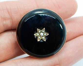 Victorian 9ct Rose GOLD, Onyx & Seed Pearl Star Secret Locket Back BROOCH / PIN