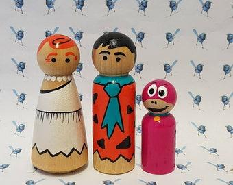 Wooden Peg Dolls - Fred Flintstone (Set of 3)