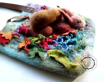 Handmade OOAK Wool felted bag with felted squirrel, felt shoulder bag, felted animals, womens felt bag, OOAK gift, needle felted art