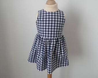 Navy gingham dress, 2 years