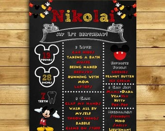 Mickey Mouse Chalkboard, Mickey Birthday Sign, Mickey Mouse Birthday, DIGITAL file, Mickey Chalkboard, Mickey Mouse Party Decorations, Mouse