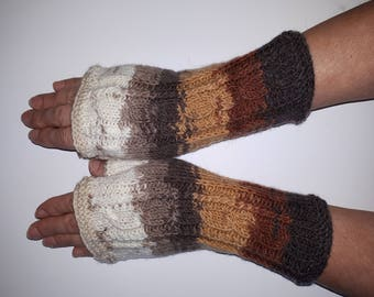 Knit Fingerless gloves Mittens Long Fingerless Arm Warmers Boho Gloves Womens Fingerless  Multicolored gloves Knitted gloves Ready to ship