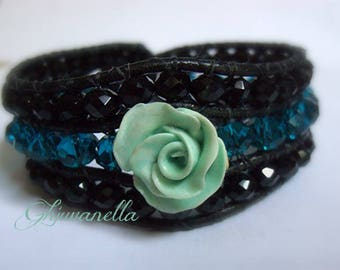 "Vintage ""CELYA"" Crystal and Leather Wrap bracelet"