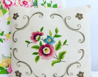 Vintage Floral Hand Stitched Crewel Pillow