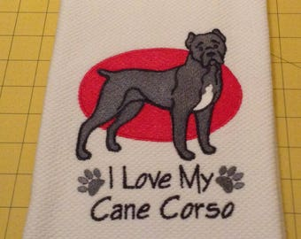 I Love My Cane Corso Embroidered Kitchen Hand Towel, Williams Sonoma All Purpose, 100% cotton & Extra Large