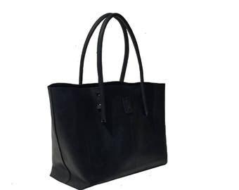 Black Big leather tote bag shopping bag tote bag shopper big used look handmade