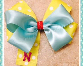 Yellow polka dot stacked hair bow with initial