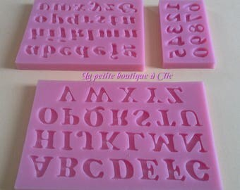 Set 3 silicone molds shaped capital, tiny alphabet and number