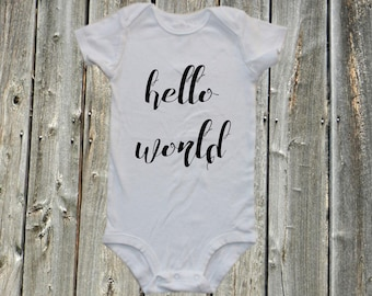 hello world - new baby onesie, welcome shirt, expecting baby shirt, pregnancy announcement, baby bodysuit,  one-piece shirt