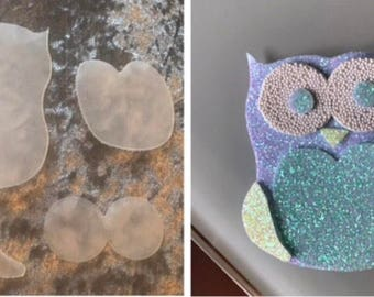Owl template. Bow template. Plastic template.
