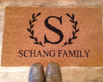 Personalized doormat- wedding gift- bridal shower gift- monogram- personalized gift for wedding- doormat-personalized welcome mat
