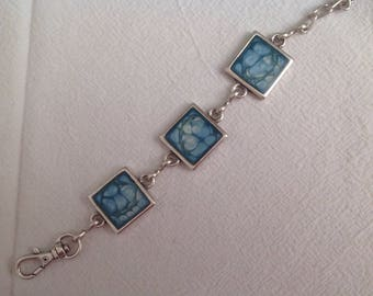 Bracelet 3 trays square always much effects blue Caribbean and pearls