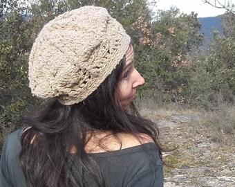 Fancy beige wool beret