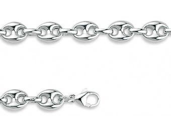 Bracelet in Silver 925/1000 and Rhodium 21 cm 7 mm new with gift box included (precious metals)