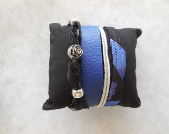 Faux blue leather and fabric Cuff Bracelet