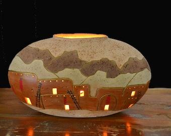Vintage Taos Pueblo Pottery Accent Lamp