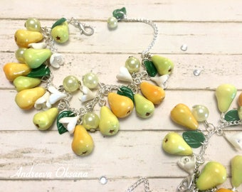 Bracelet with fruit the Bracelet with pears Fruit bracelet Fruit decoration Gift for a girl Polymer clay