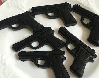 Set of 6 glycerin gun soaps.  Full set is just shy of 6 oz.  moisturizing , very cool gift.  Father's Day gift!!!