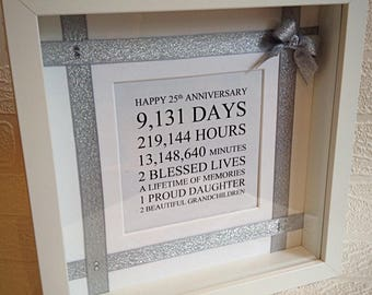 silver wedding anniversary gift married in 25th anniversary frame for parents - 25th Wedding Anniversary Gifts
