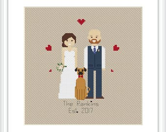 Personalised Cross Stitch Pattern  3 characters PDF Custom Cotton Anniversary Gift 2 Anniverary gift Family portrait Cross Stitch