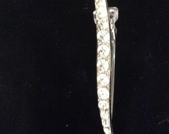 Vintage Rhinestone Curved Hair Barrette, Clip, Gorgeous, Wedding
