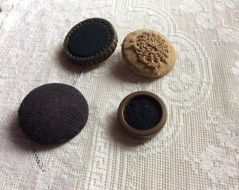 Antique Button Lot, Velvet, Leather, Fabric and Crocheted