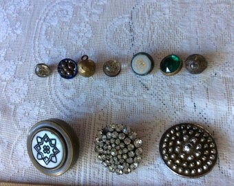 Antique Button Lot, 10, Medium and Demi, Tinted,Rhinestones, Glass, Gay Green Glass and Brass,Domed, Milk Glass Incised,