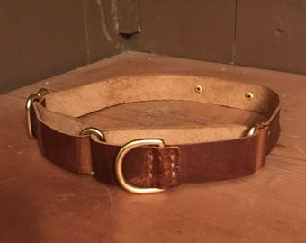 Leather Martingale Dog Collar; Genuine & Personalizable by Emeny