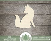 Fox Wood Cut Out Shape, Unfinished Wood Fox, Laser Cut Shapes, DIY Craft Supply, Many Size Options