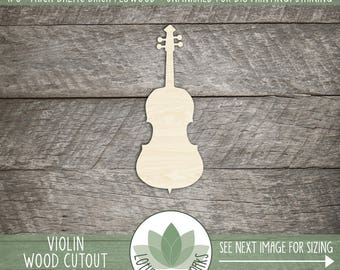 Wood Violin Laser Cut Shape, Wooden Violin Shape, DIY Craft Supply, Many Size And Shape Options, Wood Laser Cut Outs