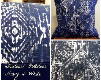 Sioux Navy and White INDOOR OUTDOOR Pillow Covers.Slip Covers.Home Decor.Patio Decor.Porch Decor.Navy.Blues.White.Pillow Cover.Slip Cover