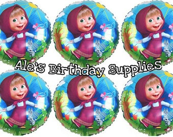 6 Pc Masha and the Bear Balloons Party Birthday Supplies
