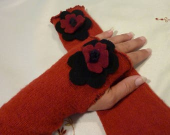 Vintage Ladies Gloves - 80's Red Open Finger Gloves  - One Size Fits Most - Warm and Fuzzy  -  Gift for Her