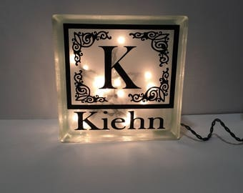 Family name Customized lighted glass block / family name sign / wedding gift / anniversary / house warming gift / personalized / shower gift