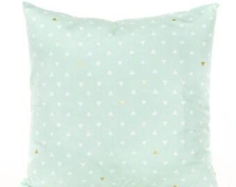 SALE ENDS SOON Mint Green Triangle Pillow Cover, Soft Green Throw Pillow, Gold Arrow Decorative Pillow, Nursery Pillow