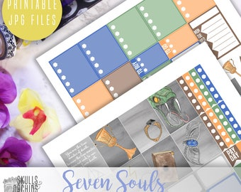 Seven Souls Weekly Kit - Printable Stickers for ERIN CONDREN