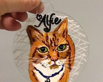 Personalised pet portrait, pet bauble, handpainted pet picture, dog bauble, cat bauble, rabbit bauble