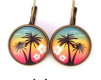 Palm tree earrings - Beach - cabochon - green yellow red