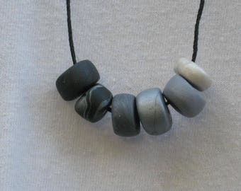 Handmade Graphite Gray Gradient Polymer Clay Necklace