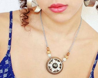 Ring wooden astral pendant necklace